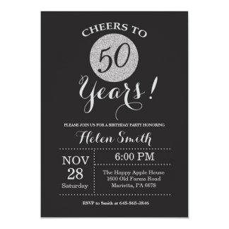 50th Preto do convite do aniversário e brilho da