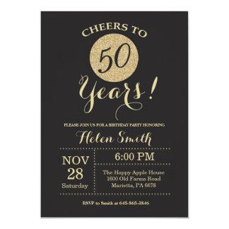 50th Preto do convite do aniversário e brilho do