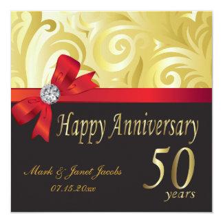 50th redemoinhos felizes do ouro do aniversário | convite quadrado 13.35 x 13.35cm