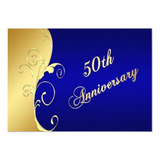 50th Rolos do ouro do aniversário com marinho Convite 12.7 X 17.78cm