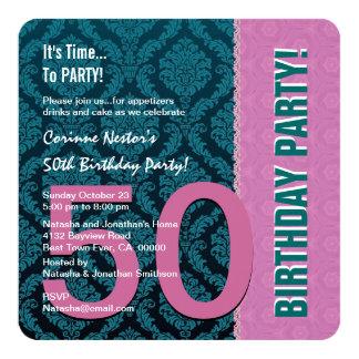 50th Rosa moderno da cor do aniversário e cerceta Convite Quadrado 13.35 X 13.35cm