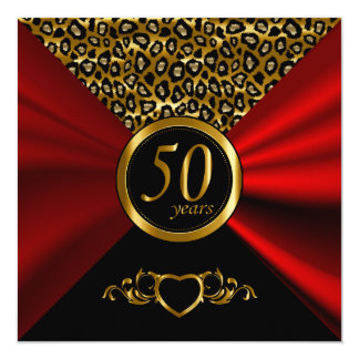 50th Teste padrão do leopardo do aniversário de Convite Quadrado 13.35 X 13.35cm