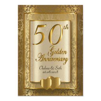 50th Texto do aniversário de casamento dourado   Convite 12.7 X 17.78cm