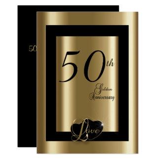 50th Texto do aniversário de casamento dourado | Convite 12.7 X 17.78cm