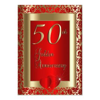 50th Texto dourado e vermelho do aniversário de Convite 12.7 X 17.78cm