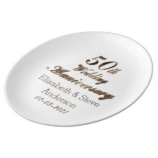 50th Tipografia do aniversário de casamento Pratos De Porcelana
