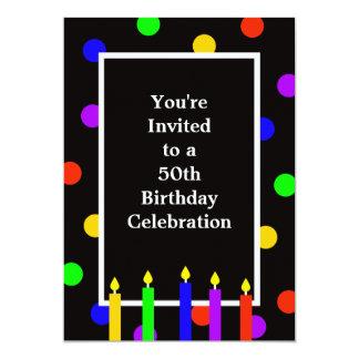 50th Velas coloridas do convite de aniversário
