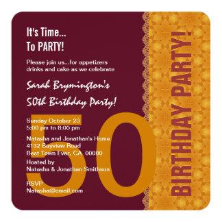 50th Violeta e ouro do aniversário com laço V03B Convite Quadrado 13.35 X 13.35cm
