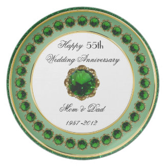 55th Placa da melamina do aniversário de casamento Louças De Jantar