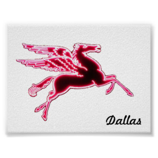"5,33"" x 4"" Dallas Pegasus no branco Posters"