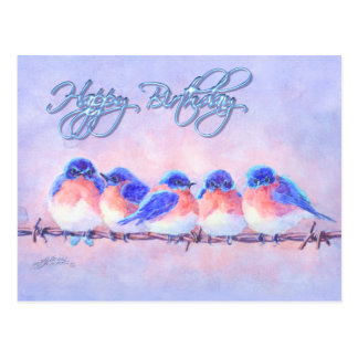 5 BLUEBIRDS em um FIO & em um TEXTO por SHARON Cartão Postal