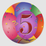 5o Decorações do balão da festa de aniversário Adesivos