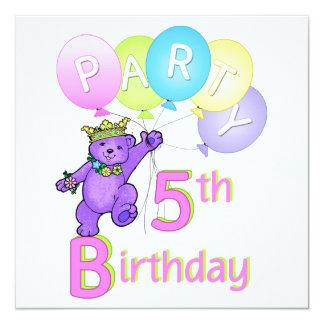 5o Princesa Carregamento Balão da festa de Convite Quadrado 13.35 X 13.35cm