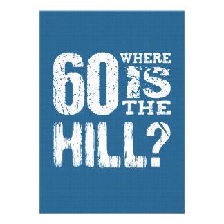 60 onde está aniversário engraçado BLUE01 do monte Convites Personalizados