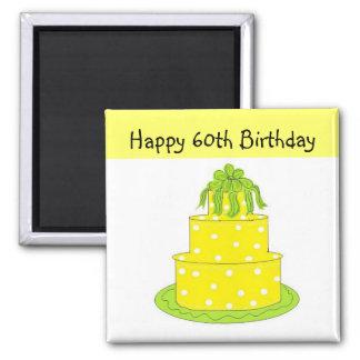60th Aniversário Ímã Quadrado