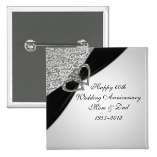 60th Botão do aniversário de casamento Bóton Quadrado 5.08cm