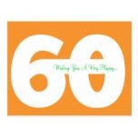 60th cartão felizes do marco miliário do aniversár cartoes postais