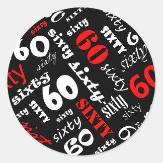 60th Etiqueta da festa de aniversário