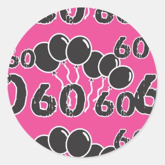 60th Etiquetas PRETAS COR-DE-ROSA do aniversário