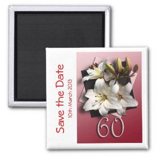 60th imã salve a data da festa de aniversário ímã quadrado