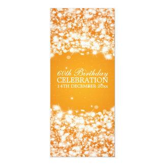 "60th laranja elegante da faísca da estrela da convite 10.16"" x 23.49cm"