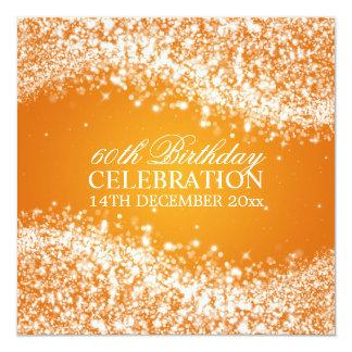60th laranja elegante da onda Sparkling da festa Convite Quadrado 13.35 X 13.35cm