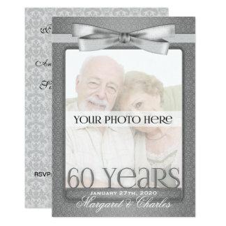 60th Partido da foto do aniversário de casamento Convite 12.7 X 17.78cm