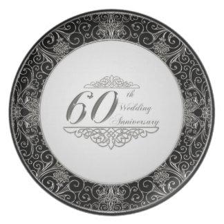 60th Placa da melamina do aniversário de casamento Prato De Festa