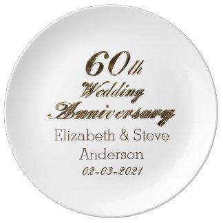60th Tipografia do aniversário de casamento do Prato De Porcelana