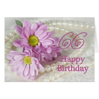 66th Cartão de aniversário com margaridas