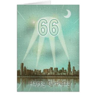 66th Cartão de aniversário com uma cidade e os