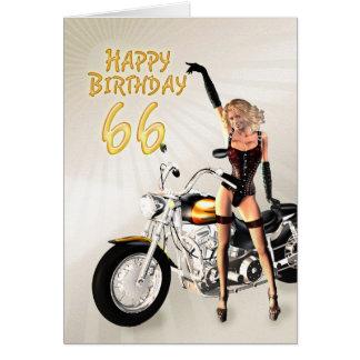 66th Cartão de aniversário com uma menina do