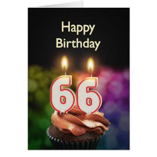 66th Cartão de aniversário com velas