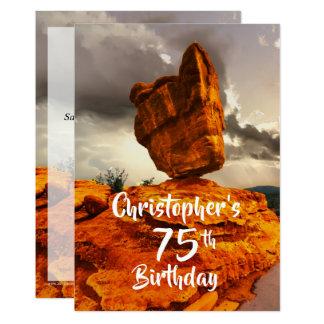 75th Convite de aniversário, rocha equilibrada