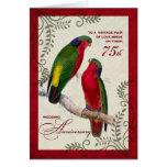 75th Papagaios de Lorikeet do vintage do aniversár Cartao
