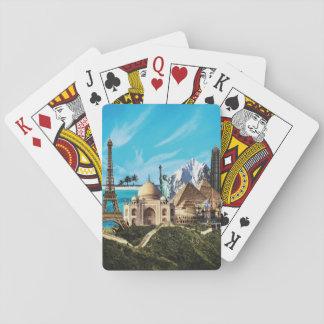 7 cartões de jogo da colagem do viagem das cartas de baralho
