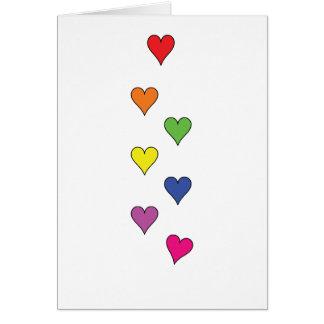 """7 corações de flutuação no branco, alto - """"rosas… cartão comemorativo"""