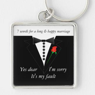 7 palavras a um casamento longo & ao casamento chaveiro quadrado na cor prata