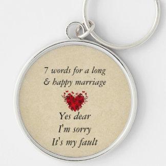 7 palavras a um casamento longo & ao casamento chaveiro redondo na cor prata