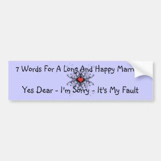 7 palavras para um casamento longo adesivo para carro