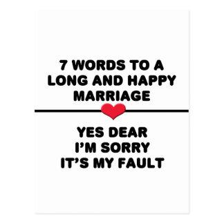 7 palavras para um casamento longo e feliz cartão postal