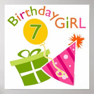 7o aniversário - menina do aniversário pôster