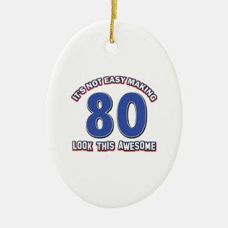 80 anos nao fáceis do design ornamento de cerâmica oval