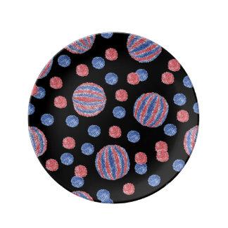 """8,5"""" placa da porcelana com bolas vermelho-azuis pratos de porcelana"""