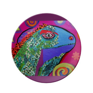 """8,5"""" placa decorativa da porcelana com lagarto pratos de porcelana"""