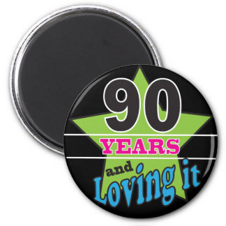 90 anos e amor dele aniversário do 90 de | ímã redondo 5.08cm