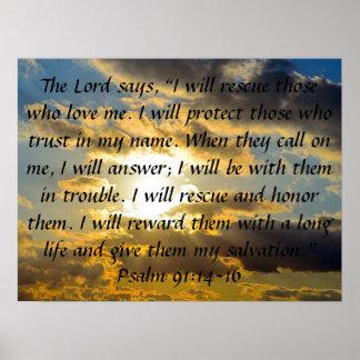 91:14 do salmo do verso da bíblia - 16 pôster