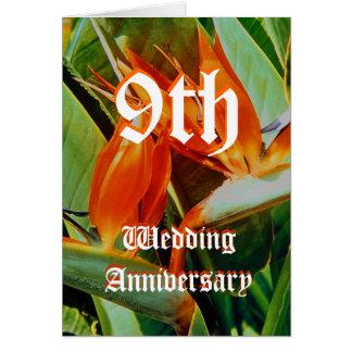 9o cartão do aniversário de casamento - pássaro de