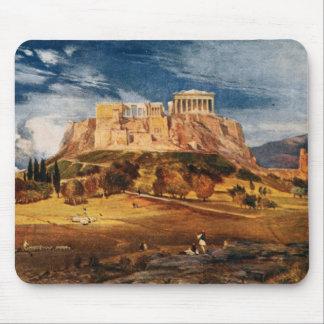 A acrópole na paisagem da cor da piscina de Atenas Mouse Pad