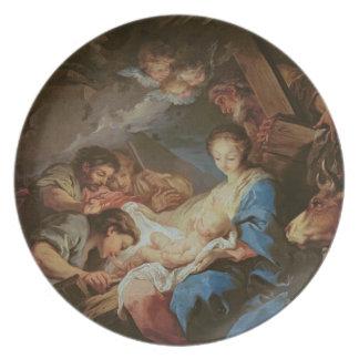A adoração dos pastores (óleo em canvas) 2 louças de jantar